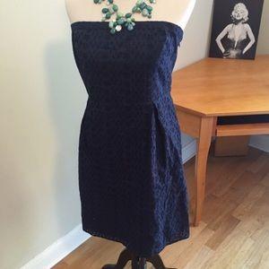 Navy Eyelet Strapless Dress